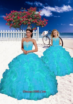 2015 Fashionable Appliques and Beading Princesita Dress in Aqua Blue