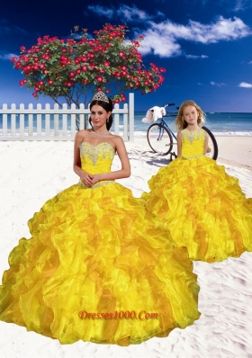 2015 Most Popular Appliques and Beading Yellow Princesita Dress