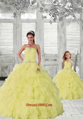 2015 New Style Light Yellow Princesita Dress with Beading and Ruching