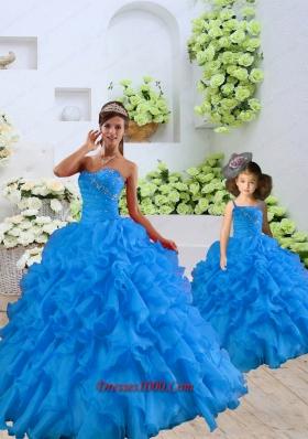 2015 Top Seller Beading and Ruffles Blue Princesita Dress