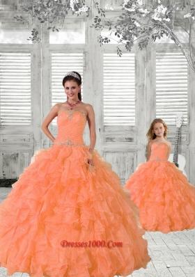 2015 Top Seller Beading and Ruffles Princesita Dress in Orange
