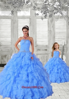 Affordable Beading and Ruching Baby Blue Princesita Dress