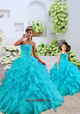 Most Popular Beading and Ruffles Aqua Blue Princesita Dress for 2015