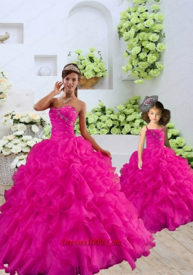 Unique Beading and Ruffles Princesita Dress in Fuchsia