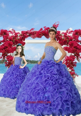 2015 Most Popular Beading and Ruffles Purple Princesita Dress