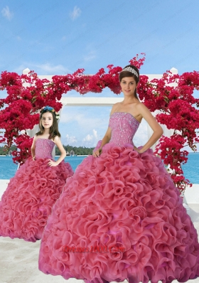 2015 New Arrival Beading and Ruffles Princesita Dress in Coral Red