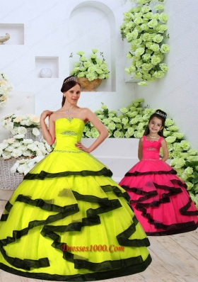Custom Made Organza Yellow Princesita Dress with Beading and Ruching for 2015