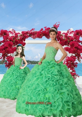New Arrival Spring Green Princesita Dress with Beading and Ruffles for 2015 Spring