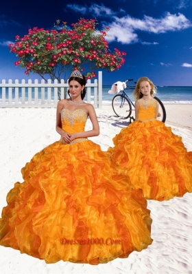 New Style Appliques and Beading Orange Princesita Dress