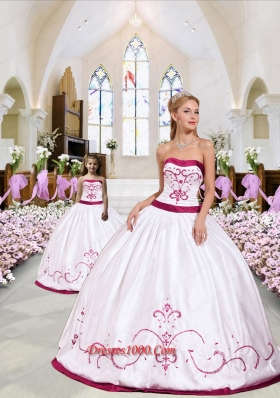 Top Seller Embroidery Princesita Dress in White and Wine Red