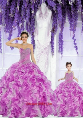 2015 Fashionable Organza Beading and Ruffles Princesita Dress in Fuchsia