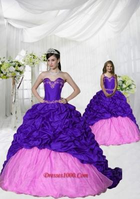 2015 New Arrival Appliques and Pick-ups Brush Train Purple Princesita Dress