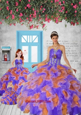2015 Remarkable Appliques and Ruffles Multi-color Princesita Dress