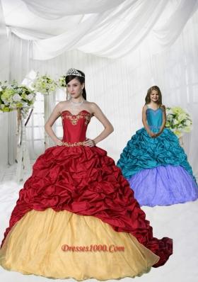 2015 Unique Appliques and Pick-ups Brush Train Princesita Dress in Wine Red