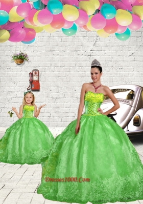 Fashionable Green Princesita Dress with Beading and Embroidery for 2015