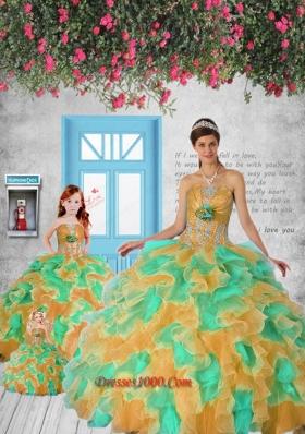 Modest Appliques and Ruffles Princesita Dress in Multi-color