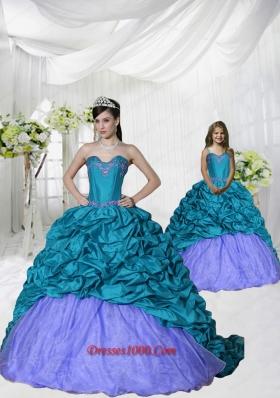 New Style Appliques Brush Train Blue and Purple Princesita Dress