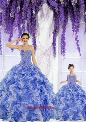 New Style Organza Beading and Ruffles Princesita Dress in Blue