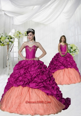 Top Seller Appliques and Pick-ups Brush Train Princesita Dress in Fuchsia