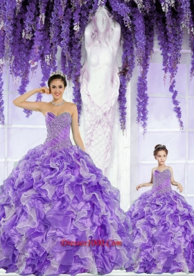 Top Seller Beading and Ruffles Lavender Princesita Dress for 2015