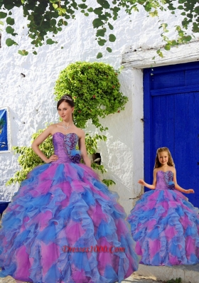 Unique Beading and Ruffles Multi-color Princesita Dress for 2015 Summer