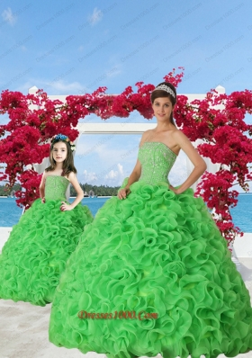 Green Beaded Decorate Organza Princesita Dress with Ruffels