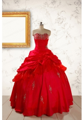 2015 Beautiful Beading Sweetheart Quinceanera Dress in Red