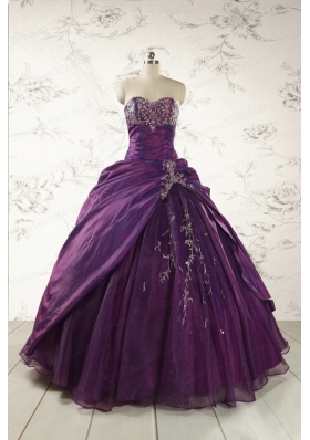 2015 Modern Purple Sweetheart Appliques Quinceanera Dresses