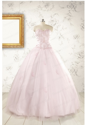 2015 Pretty Appliques Light Pink Quinceanera Dresses