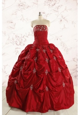Discount Strapless Wine Red Appliques Quinceanera Dresses for 2015