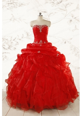2015 Ball Gown Strapless Beading and Ruffles Red Sweet 15 Dresses