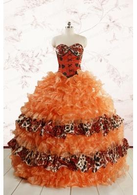 2015 Exquisite Sweetheart Leopard Quinceanera Dresses in Orange