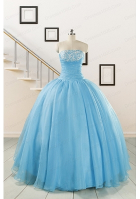 Cheap Strapless Quinceanera Dresses with Appliques