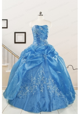Classical Baby Blue Quinceanera Dresses with Embroidery for 2015