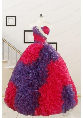 Wonderful Beading and Ruffles Multi-color Quinceanera Dresses