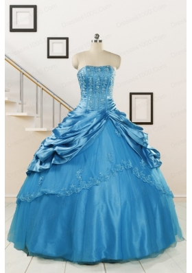 2015 Spring Fashionable Appliques Teal Quinceanera Dresses