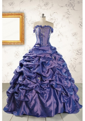 2015 Unique Purple Quinceanera Dresses with Brush Train