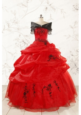 Most Popular Appliques Red Quinceanera Dresses for 2015