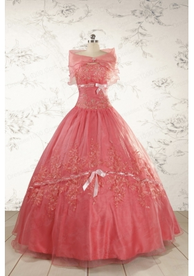 Watermelon Cheap Appliques Quinceanera Dresses for 2015