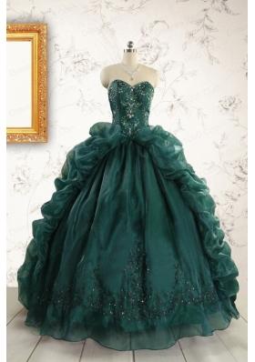 2015 Luxurious Dark Green Sweet 16 Dresses with Beading