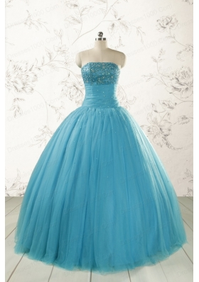 2015 Pretty Strapless Quinceanera Dresses with Beading