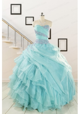 Beading and Ruffles Pretty Quinceanera Dresses in Aqua Blue for 2015