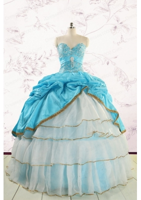 Custom Made Sweetheart Aqua Blue Quinceanea Dresses with Beading