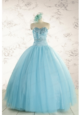 Elegant Beading 2015 Quinceanera Dress in Baby Blue