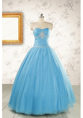 2015 New Style Beading Sweet 15 Dresses in Aqua Blue