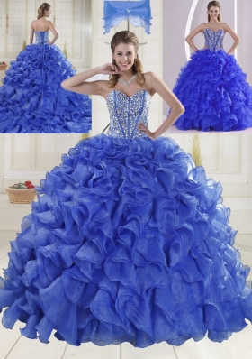2014 Puffy Sweetheart Brush Train Quinceanera Dresses