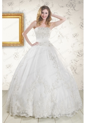 2015 Elegant Appliques Quinceanera Dress in White