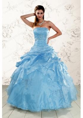 2015 Elegant Appliques Quinceanera Dresses in Aqua Blue