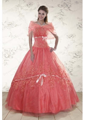 2015 Elegant Appliques Sweetheart Sweet 15 Dresses in Watermelon
