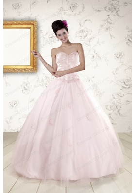 2015 Modest Light Pink Quinceanera Dresses with Appliques